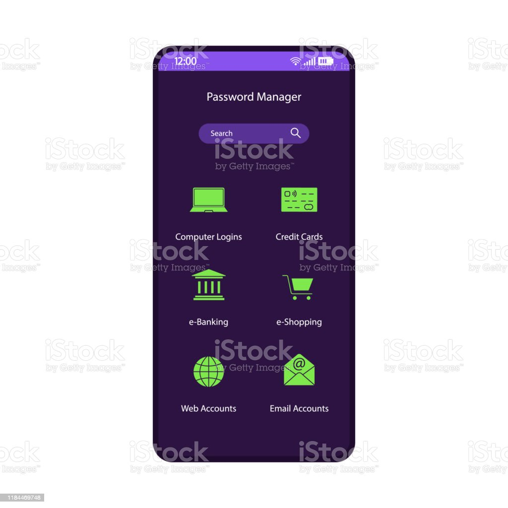 Here are the pros and cons. Password Manager App Smartphone Interface Vector Template Stock Illustration Download Image Now Istock