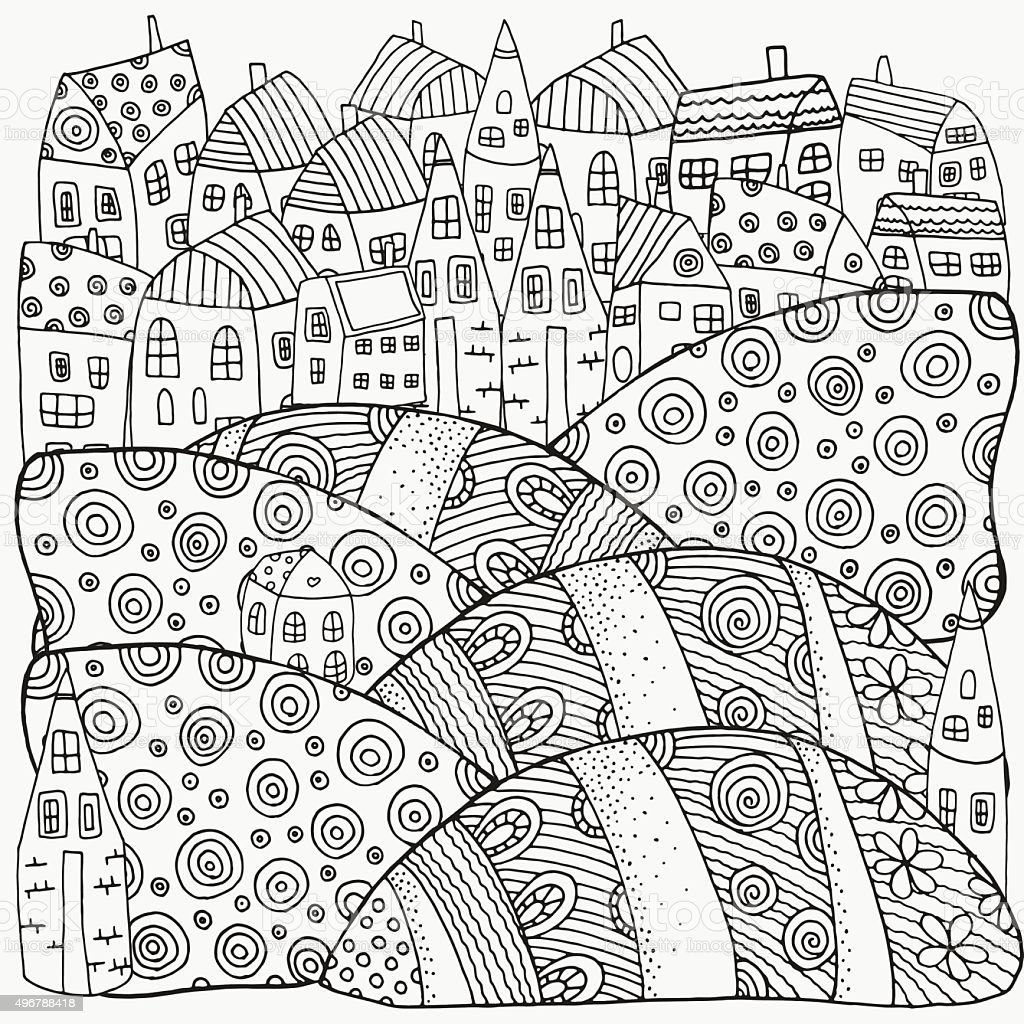 Pattern For Coloring Book With Artistically Houses Magic