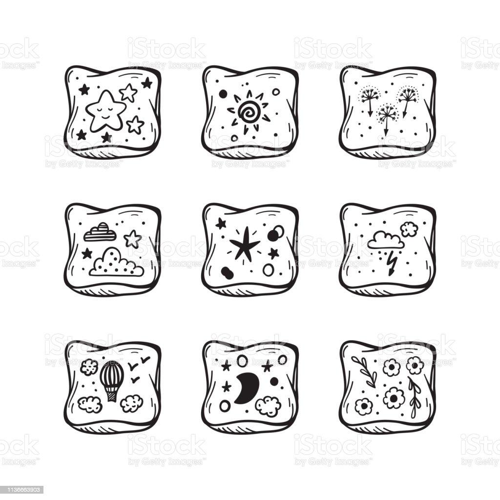 https www istockphoto com de vektor kissen vector set hand drawn doodle sketch bed pillow mit cute prints gm1136663903 302803415