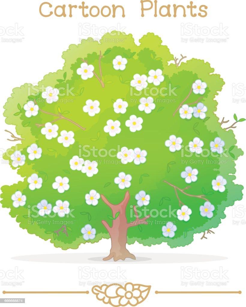 plantae series dessin anime plantes arbre fleuri vecteurs libres de droits et plus d images vectorielles de arbre istock