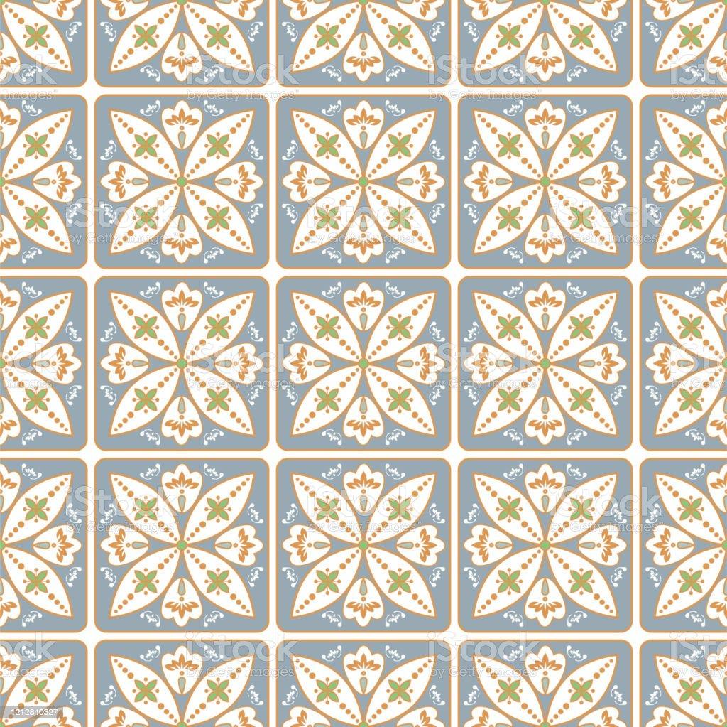 portuguese style ceramic tile seamless pattern mediterranean lisbon wall tiles design pastel blue gold colors stock illustration download image now istock