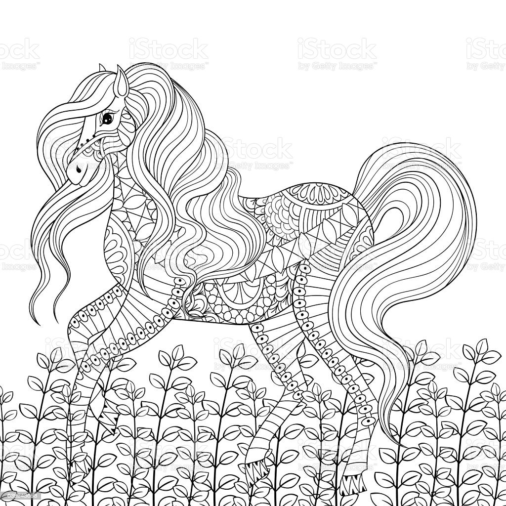 Racing Horse Adult Anti Stress Coloring Page Hand Drawn