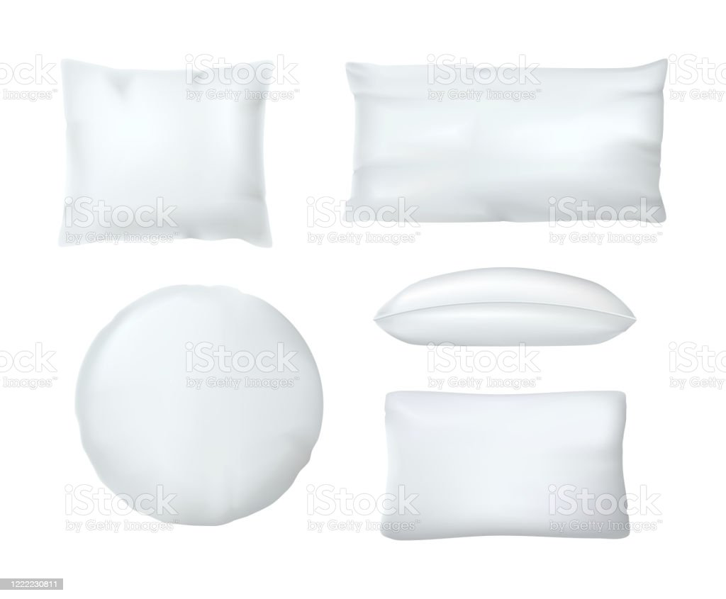 realistic white cushion pillows mask white orthopedic pillows different shapes stock illustration download image now istock