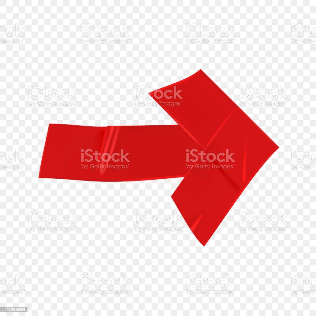 fleche rouge de reparation de conduits isolee sur le fond transparent piece de ruban adhesif rouge realiste pour la fixation papier fleche scotch colle illustration realiste de vecteur 3d vecteurs libres de