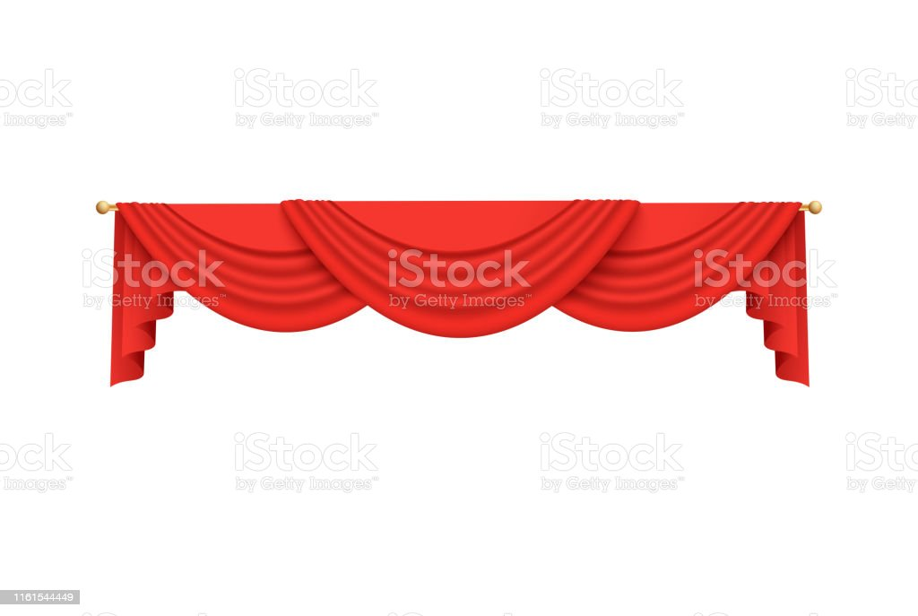 red velvet curtain valance decoration hanging from golden rod stock illustration download image now istock