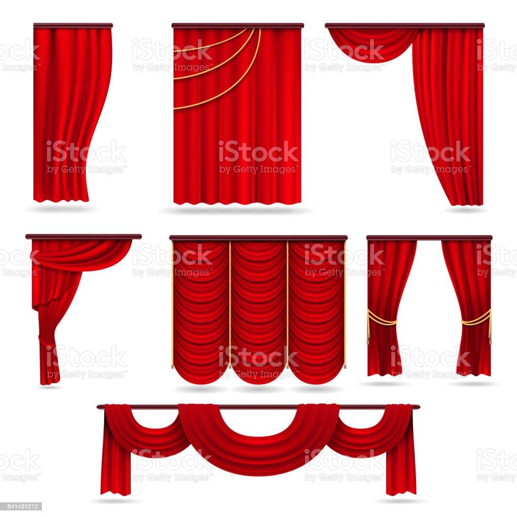 rideaux de velours rouge de scene rideaux de theatre ecarlate isole sur blanc vectoriel defini vecteurs libres de droits et plus d images vectorielles de arts culture et spectacles istock