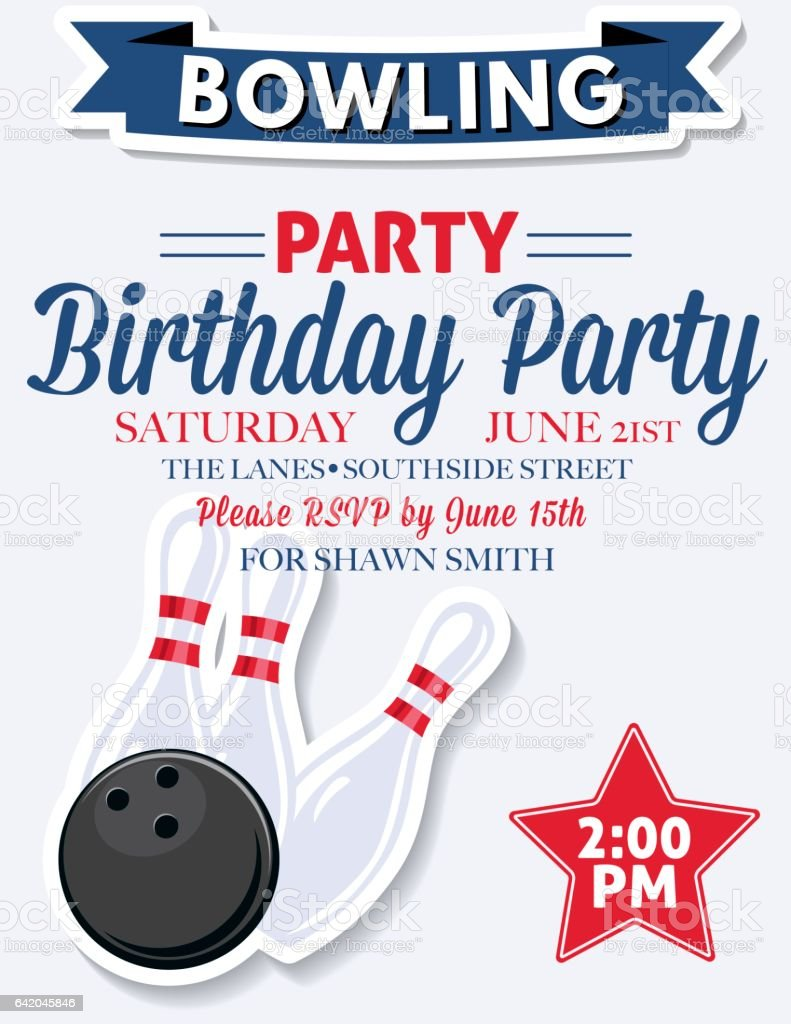 https www istockphoto com vector retro style bowling birthday party invitation template gm642045846 116362833