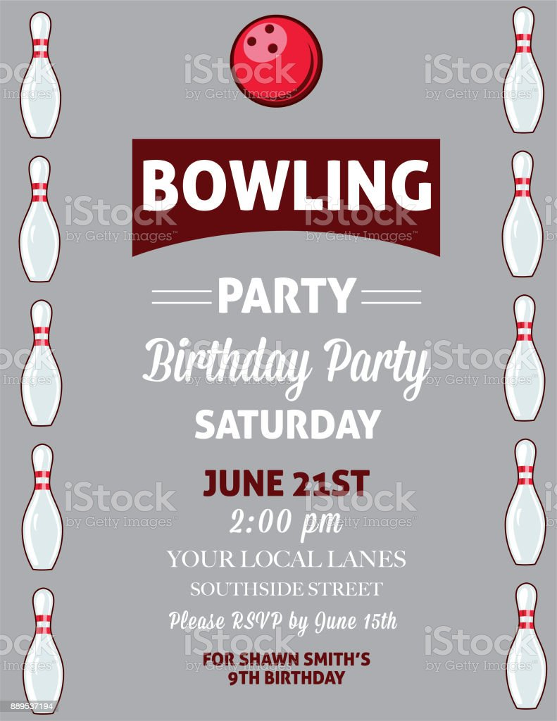 https www istockphoto com vector retro style bowling birthday party invitation template gm889537194 246597367