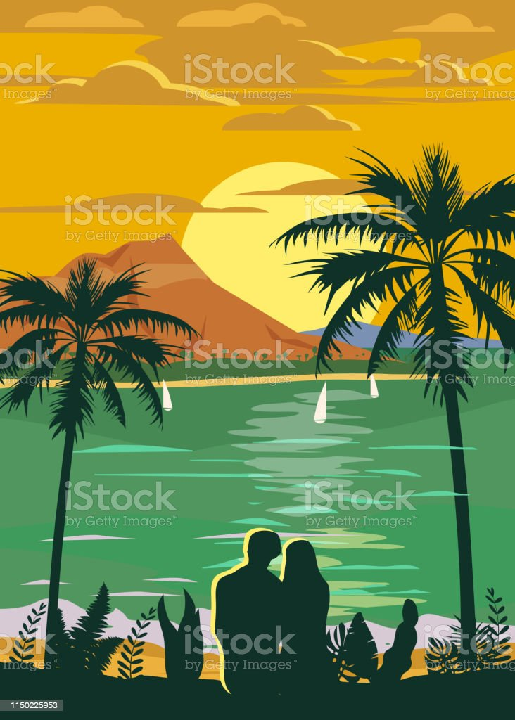 retro vintage style travel poster or sticker tropical island paradise couple of lovers sunset ocean beach and palm trees summer vacation holiday vector isolated stock illustration download image now istock