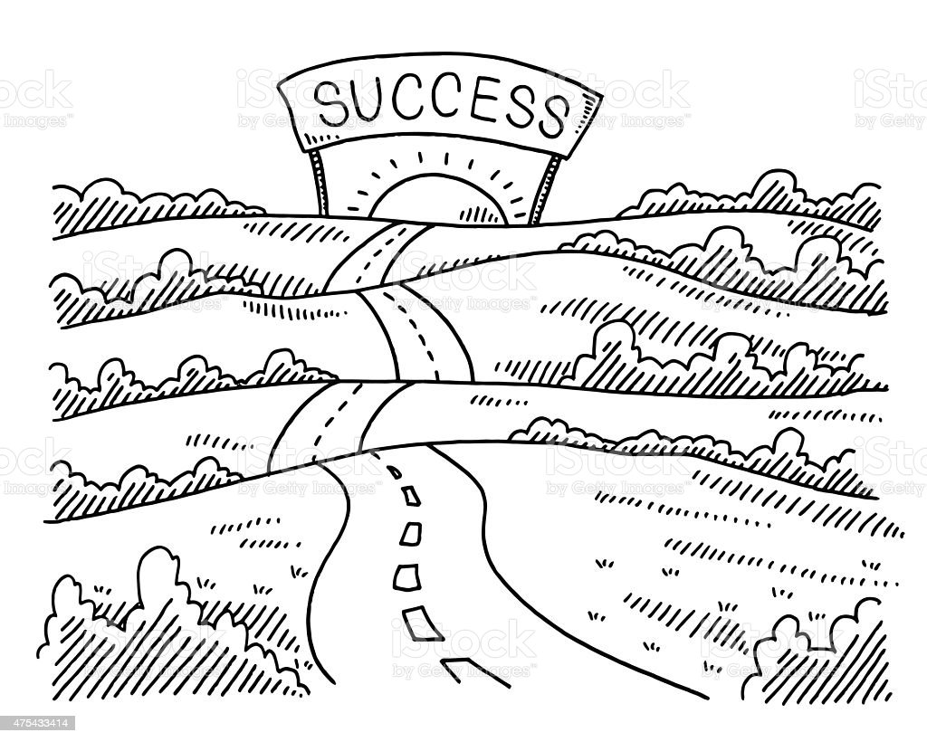 Road to success landscape drawing stock vector art more images