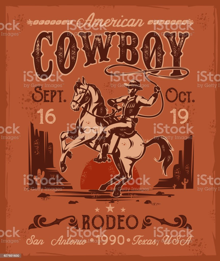 https www istockphoto com de vektor rodeo poster with a cowboy sitting on rearing horse in gm627931830 111312427