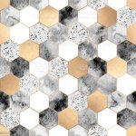 Seamless Abstract Geometric Pattern With Gold Foil Gray Marble And Watercolor Hexagons Stock Illustration Download Image Now Istock