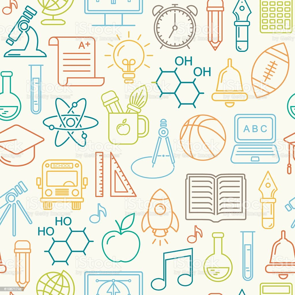 Seamless Vector Colored School And Education Background