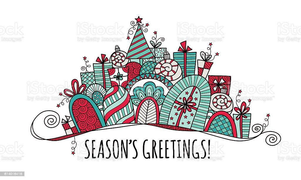 Seasons Greetings Christmas Banner Doodle Vector Bright