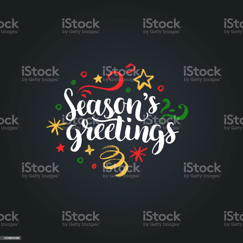 Seasons Greetings Lettering On Black Background Vector