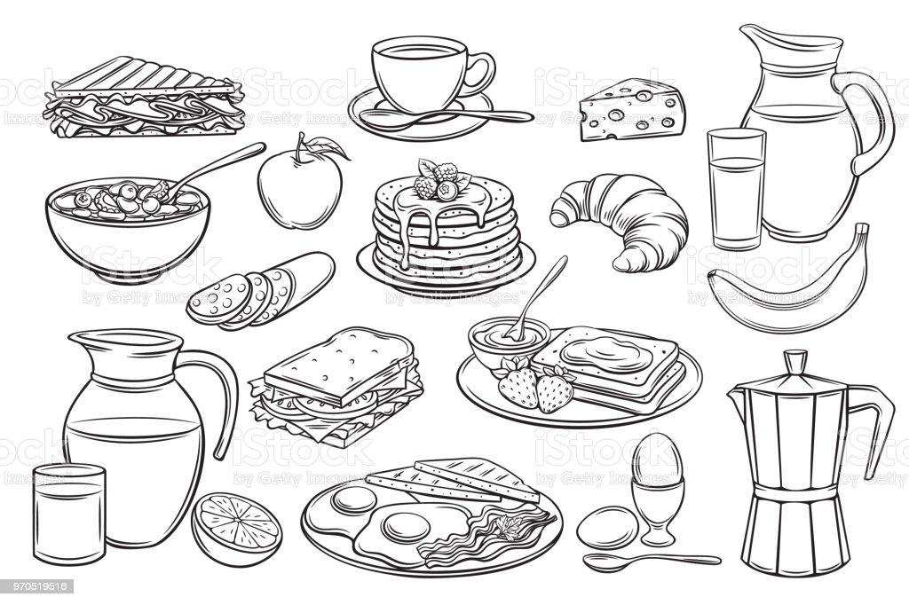icones de set petit dejeuner vecteurs libres de droits et plus d images vectorielles de aliment istock