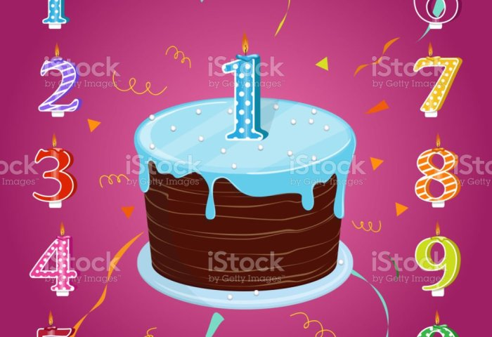 A Set For A Birthday Party Happy Birthday Cake With Candles Numbers