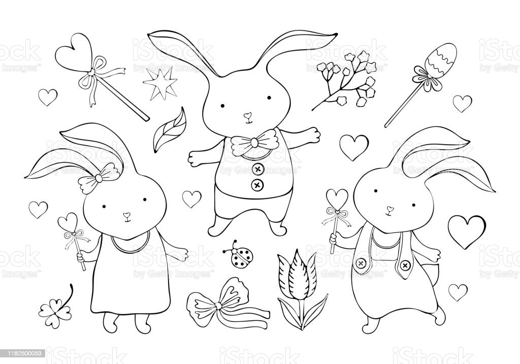 ensemble de lapins et dobjets mignons de dessin anime de paques dans le vecteur petit garcon et fille de lapin dessin a la main vintage kawaii animal drole ligne dart en noir
