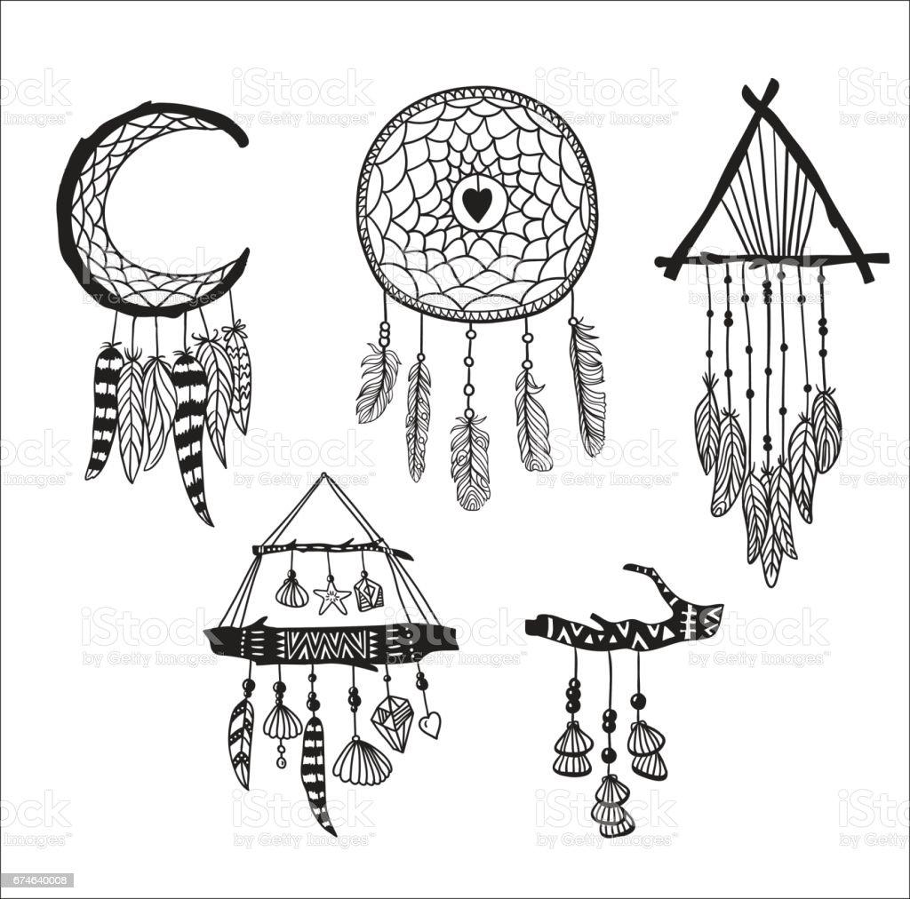 Set Of Dreamcatchers Design Elements In Boho Style Lineart
