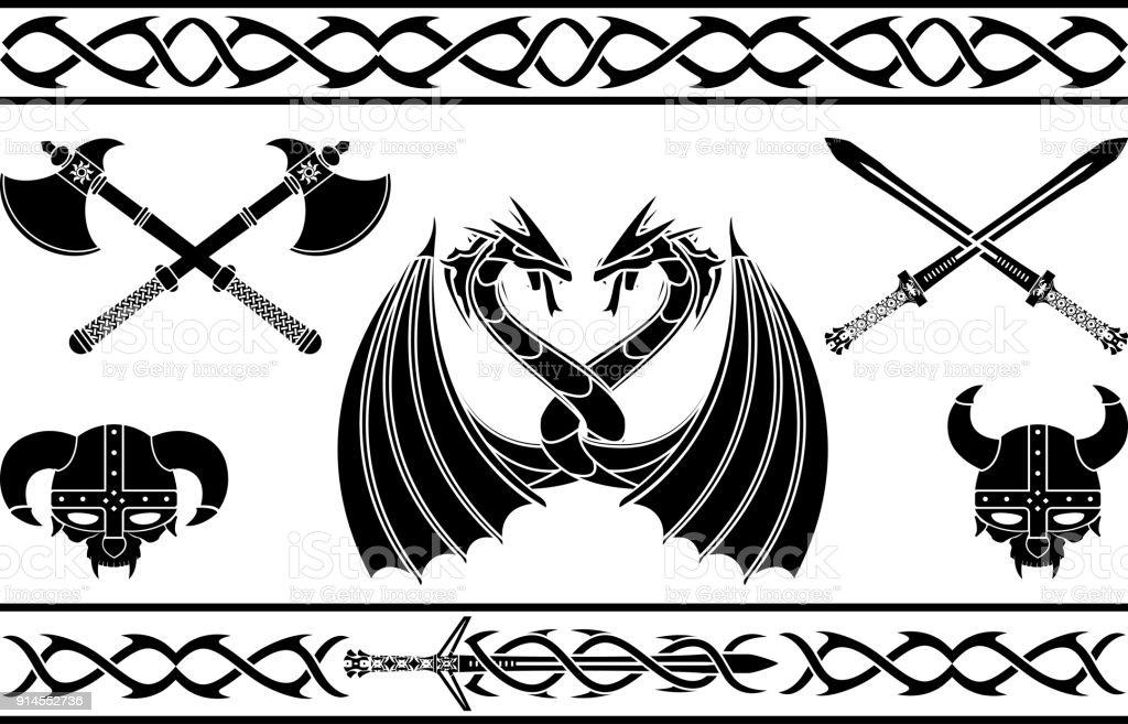 Ensemble De Signes De Viking De Fantaisie Et Motifs
