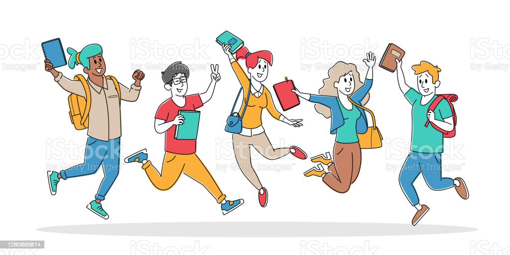 Que los niños y adolescentes vayan cada día contentos a clases porque se divierten aprendiendo,. Imagen De Conjunto De Personajes De Estudiantes Felices Saltando Con Mochilas Y Libros De Texto Escolares O Colegialas Riendo Agitando Las Manos Fotografia De Stock
