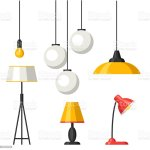 Set Of Lamps Furniture Chandelier Floor And Table Lamp Stock Illustration Download Image Now Istock