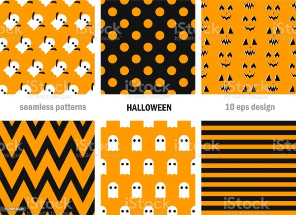 Set Of Seamless Vector Halloween Patterns Scary Repeat ...