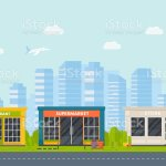Set Of Vector Flat Design Restaurants Exterior And Shops Facade Stock Illustration Download Image Now Istock
