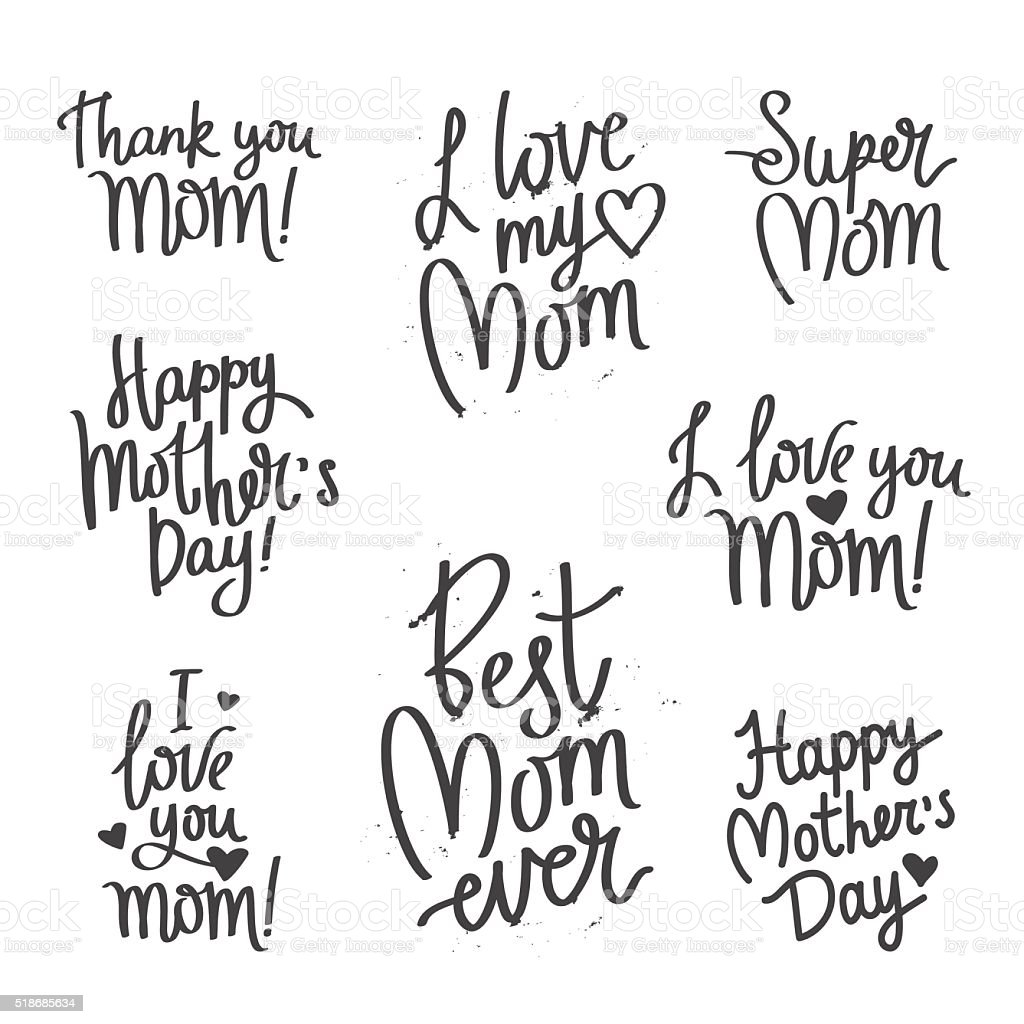 Set Quotes Mothers Day Calligraphy Stock Vector Art Amp More