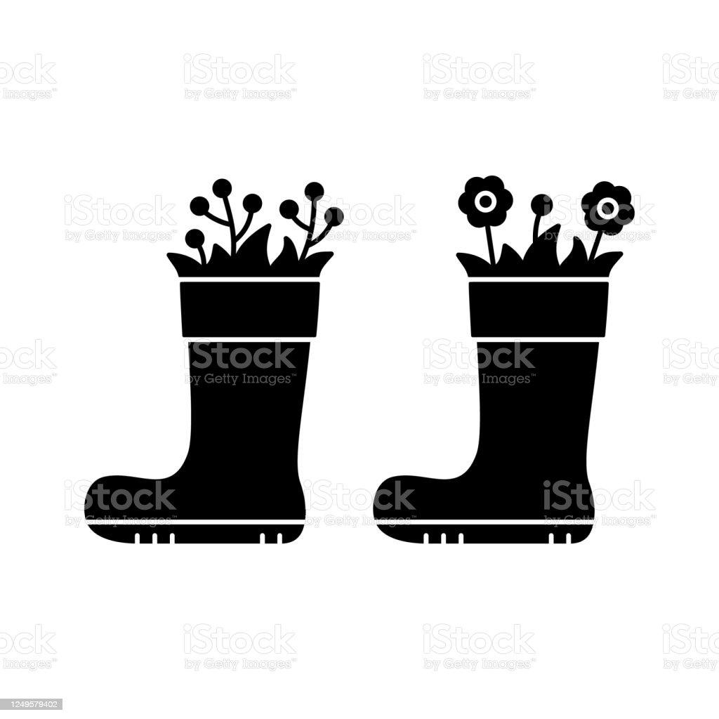 https www istockphoto com fr vectoriel fleurs de silhouette dans la botte en caoutchouc ic c3 b4ne de contour de la gm1249579402 364205845