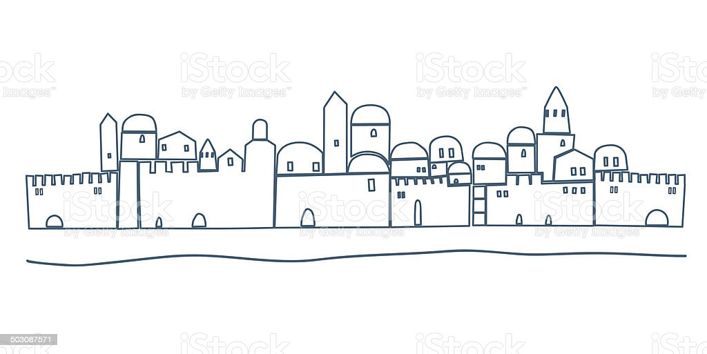 Silhouette Of Old Jerusalem Illustration Stock Vector Art
