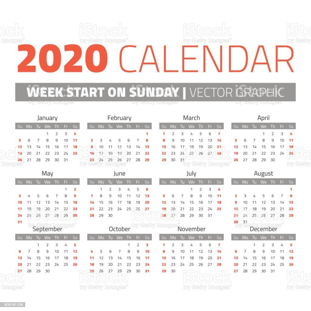 単純な 2020 年のカレンダー のイラスト素材 826191138 | iStock