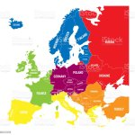 Six Geographical Regions Of Europe Southern Southeastern Western Central Eastern And Northern Flat Political Vector Map With Labels Stock Illustration Download Image Now Istock