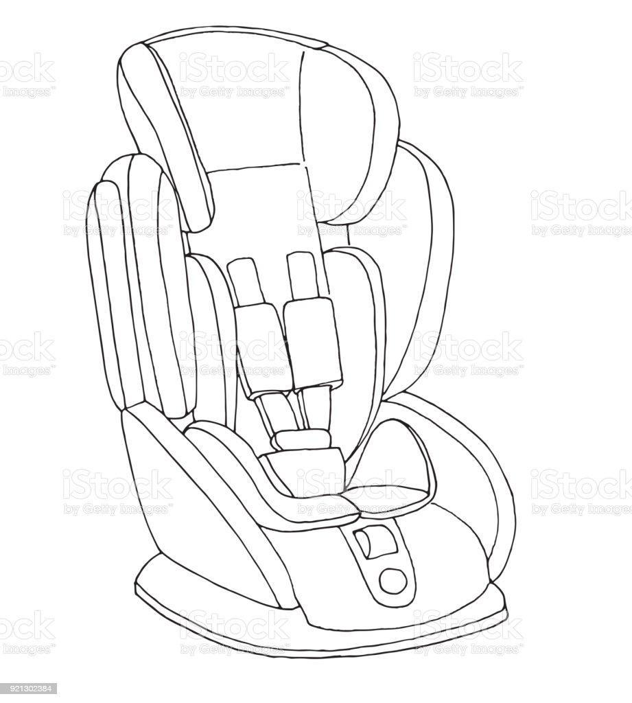 Sketch of a childrens car seat child safety vector illustration