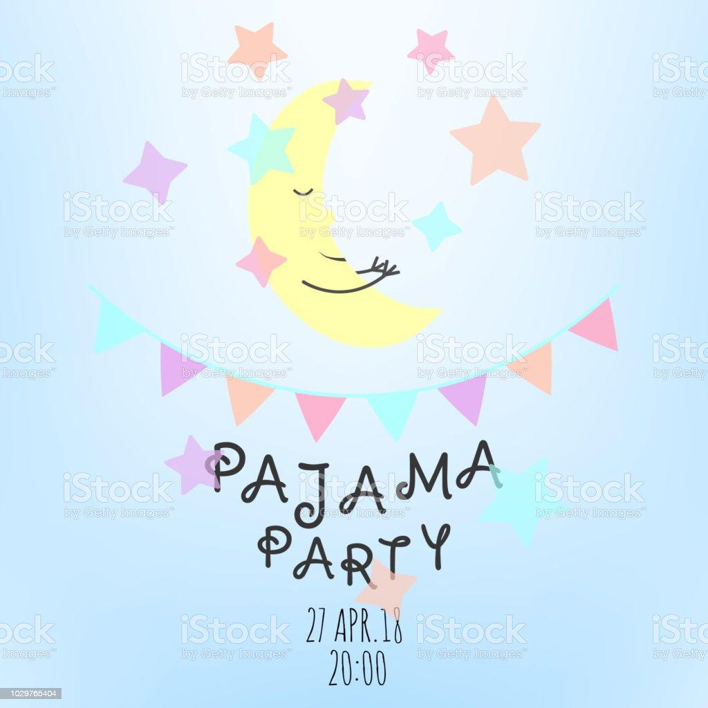 https www istockphoto com fr vectoriel carte dinvitation soir c3 a9e pyjama avec des c3 a9l c3 a9ments mignons lune les c3 a9toiles les gm1029765404 275938392