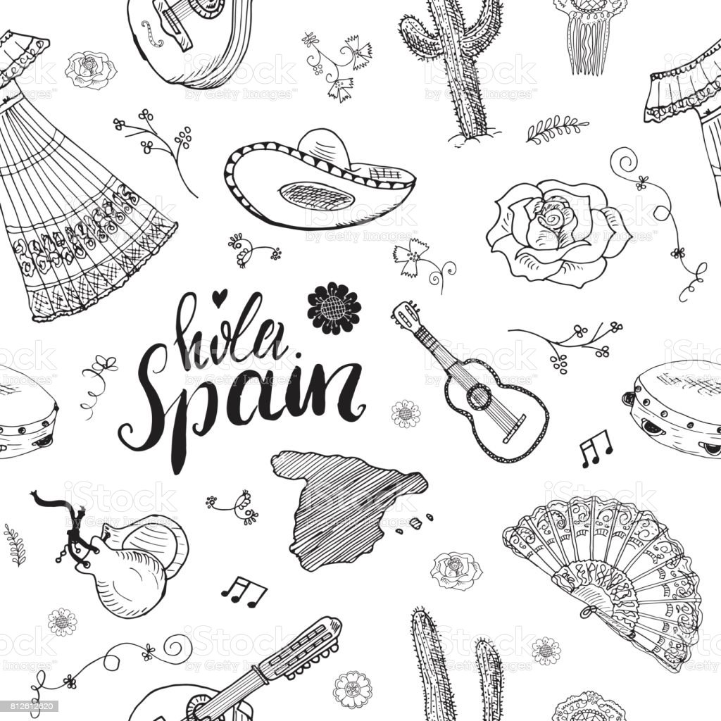 Spain Seamless Pattern Doodle Elements Hand Drawn Sketch
