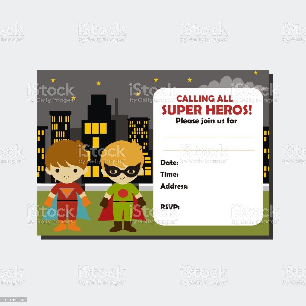 superhero boy birthday invitation card stock illustration download image now istock