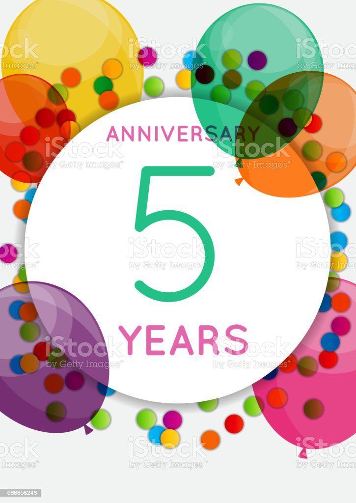 https www istockphoto com fr vectoriel mod c3 a8le 5 ans anniversaire f c3 a9licitations carte de voeux invitation illustration gm688858248 126849617