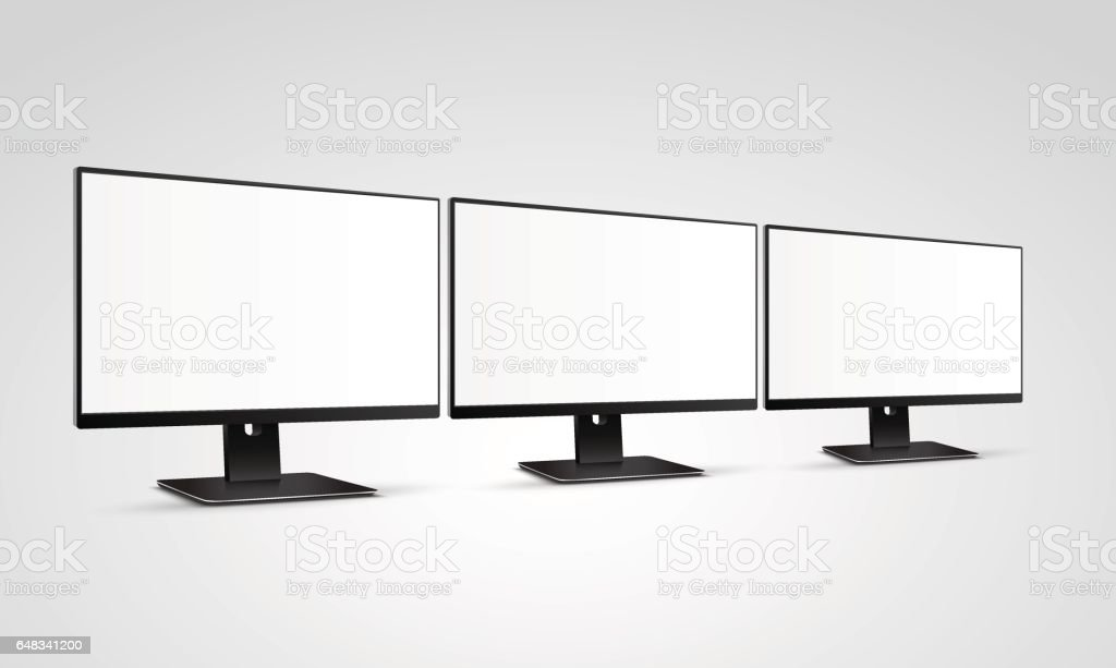 Three Modern Computer Monitors Mockup With White Blank Screen Stock