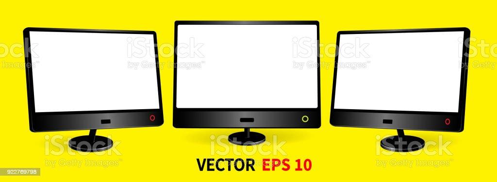 Royalty Free Three Computer Monitors Mockup With Blank Black Screen