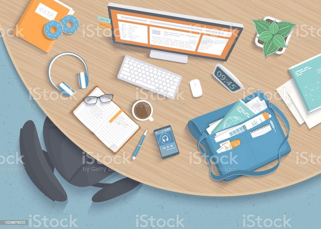 https www istockphoto com fr vectoriel vue de dessus du moderne c3 a9l c3 a9gant en bois rond de bureau en bureau chaise bureau gm1029879222 275964461