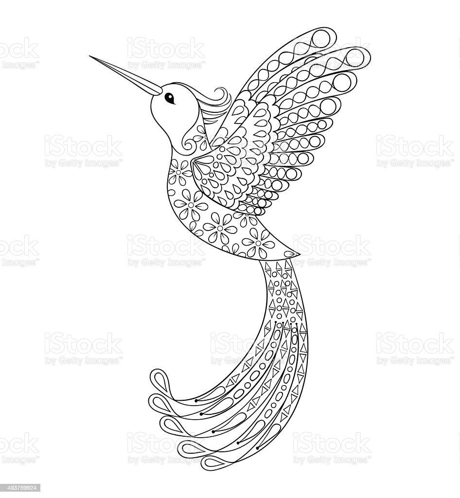 Tribal Hummingbird Flying Bird Totem For Adult Colori Stock Vector