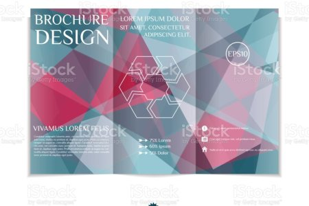 Trifold Brochure Template With Modern Geometric Background Threefold     Tri fold brochure template with modern geometric background  Three fold  leaflet design with