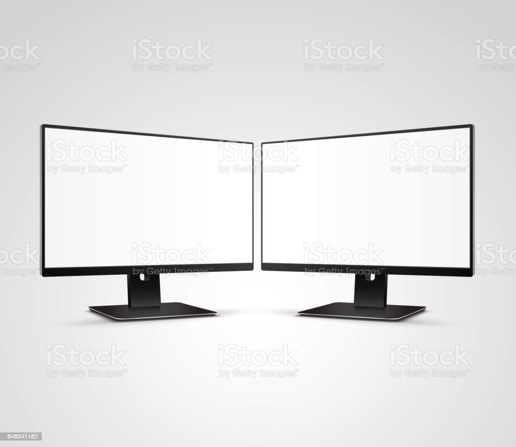 Two Modern Computer Monitors Mockup With White Blank Screen Stock