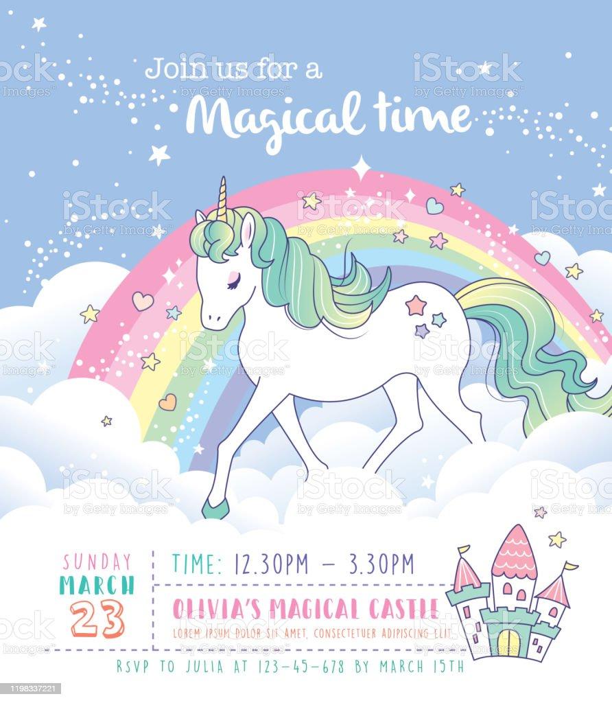 unicorn birthday party invitation card stock illustration download image now istock