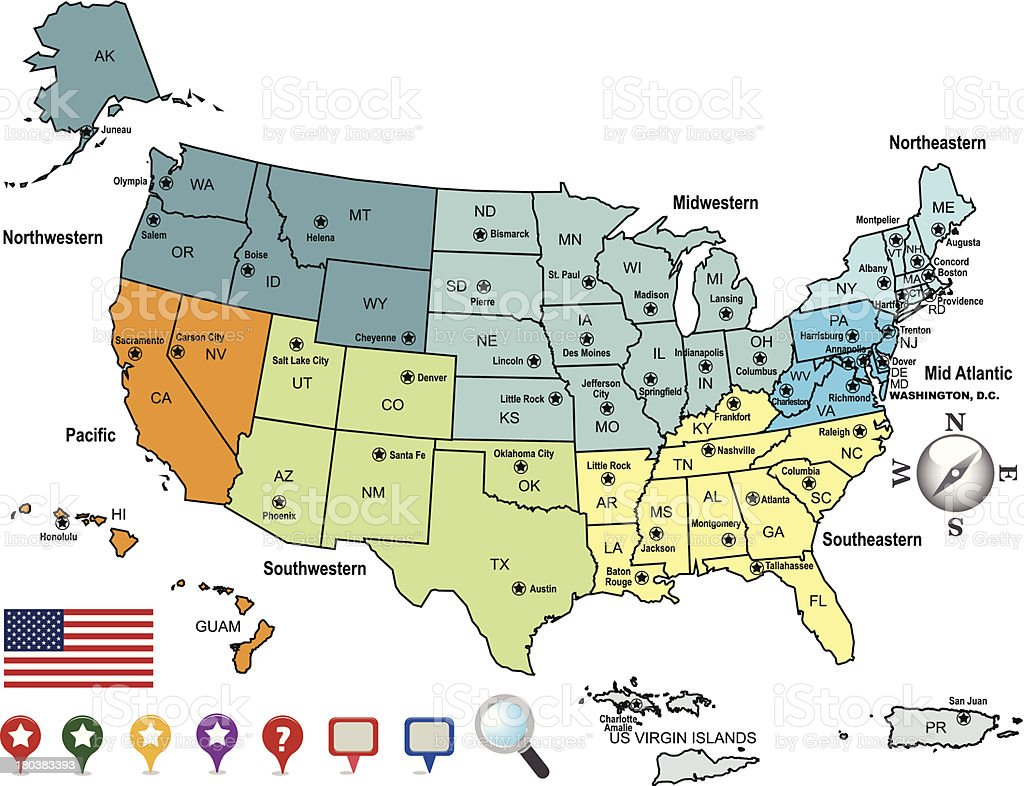 United states map with capitals. United States Of America Map With State Capitals Stock Illustration Download Image Now Istock