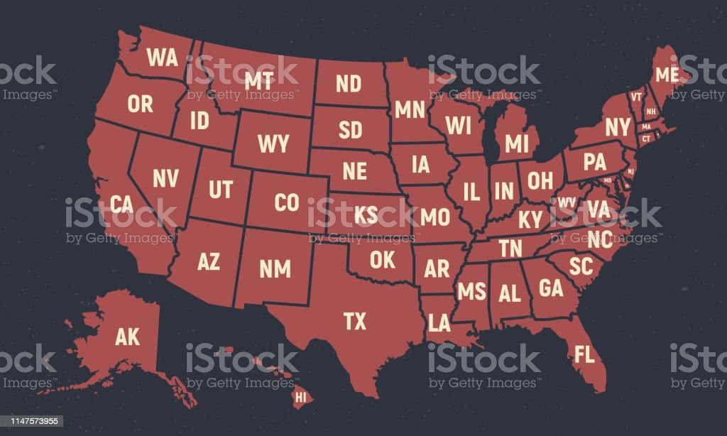 united states of america retro poster map usa map with short state names vector us map with states stock illustration download image now istock