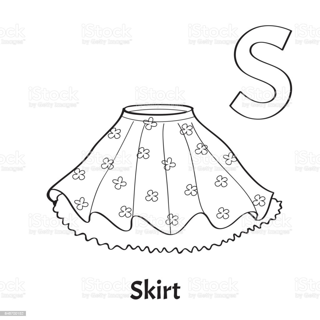 Vector Alphabet Letter S Coloring Page Skirt Stock Vector
