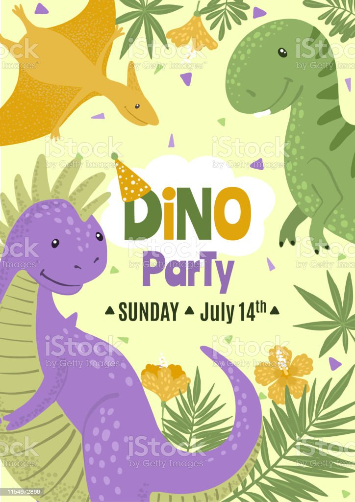 vector birthday party invitation with cute dinosaurs stock illustration download image now istock