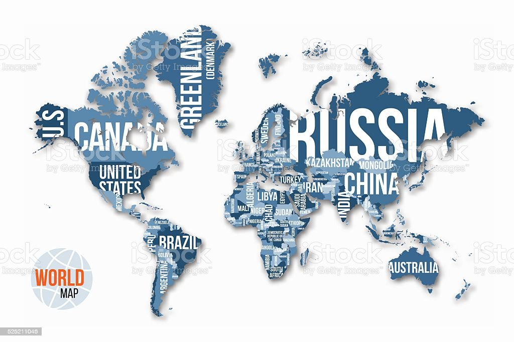 map with country names Vector World
